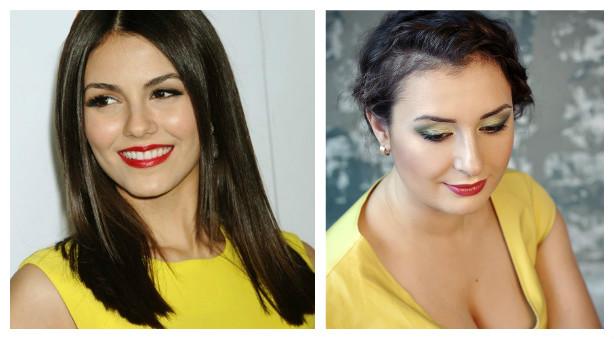 макияж под желтое платье для брюнеток