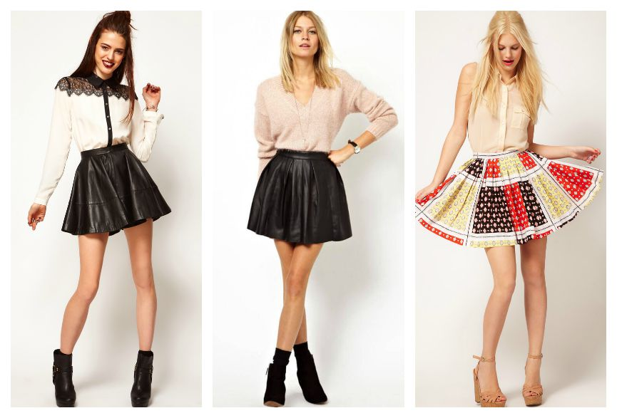 короткие расклешенные юбки мода 2015