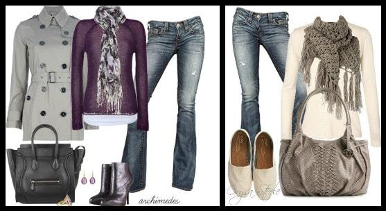 с джинсами и шарфиком