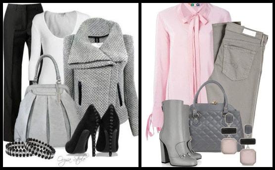 серая сумка и розовая блузка