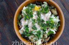 Салат с жареными грибами и курицей — рецепт с фото